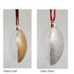Pallina piatta glitter argento